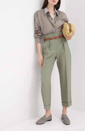Женская шелковая рубашка BRUNELLO CUCINELLI коричневого цвета, арт. MP741NA506 | Фото 2