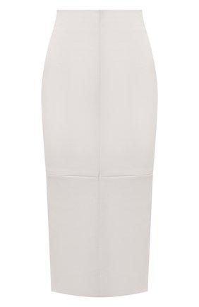 Женская кожаная юбка BRUNELLO CUCINELLI бежевого цвета, арт. MPV32G2968 | Фото 1