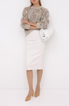 Женская кожаная юбка BRUNELLO CUCINELLI бежевого цвета, арт. MPV32G2968 | Фото 2