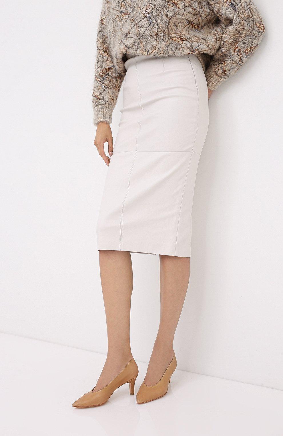 Женская кожаная юбка BRUNELLO CUCINELLI бежевого цвета, арт. MPV32G2968 | Фото 3