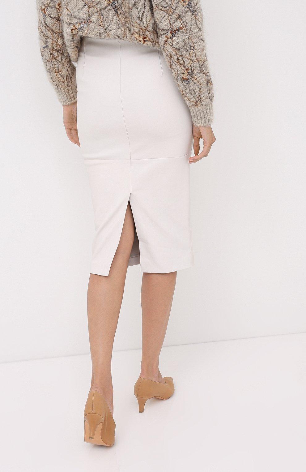 Женская кожаная юбка BRUNELLO CUCINELLI бежевого цвета, арт. MPV32G2968 | Фото 4