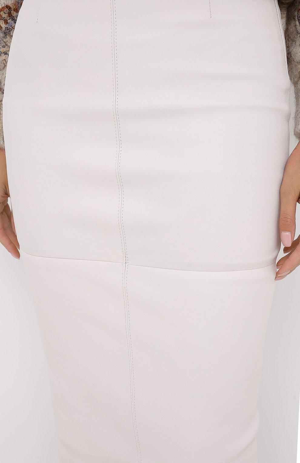 Женская кожаная юбка BRUNELLO CUCINELLI бежевого цвета, арт. MPV32G2968 | Фото 5
