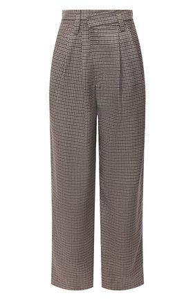 Женские брюки из льна и шерсти BRUNELLO CUCINELLI коричневого цвета, арт. MP463P7424   Фото 1