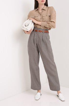 Женские брюки из льна и шерсти BRUNELLO CUCINELLI коричневого цвета, арт. MP463P7424   Фото 2
