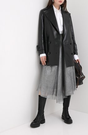 Женская юбка BRUNELLO CUCINELLI серебряного цвета, арт. MP002G2985 | Фото 2