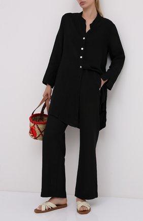 Женская льняная туника LA FABBRICA DEL LINO черного цвета, арт. ES921   Фото 2