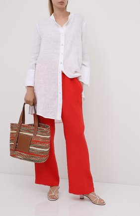 Женские льняные брюки LA FABBRICA DEL LINO красного цвета, арт. 00105 | Фото 2