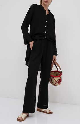 Женские льняные брюки LA FABBRICA DEL LINO черного цвета, арт. 00105   Фото 2