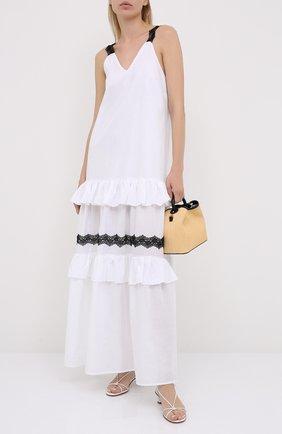 Женское льняное платье LA FABBRICA DEL LINO белого цвета, арт. 00376 | Фото 2