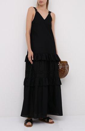 Женское льняное платье LA FABBRICA DEL LINO черного цвета, арт. 00376 | Фото 2