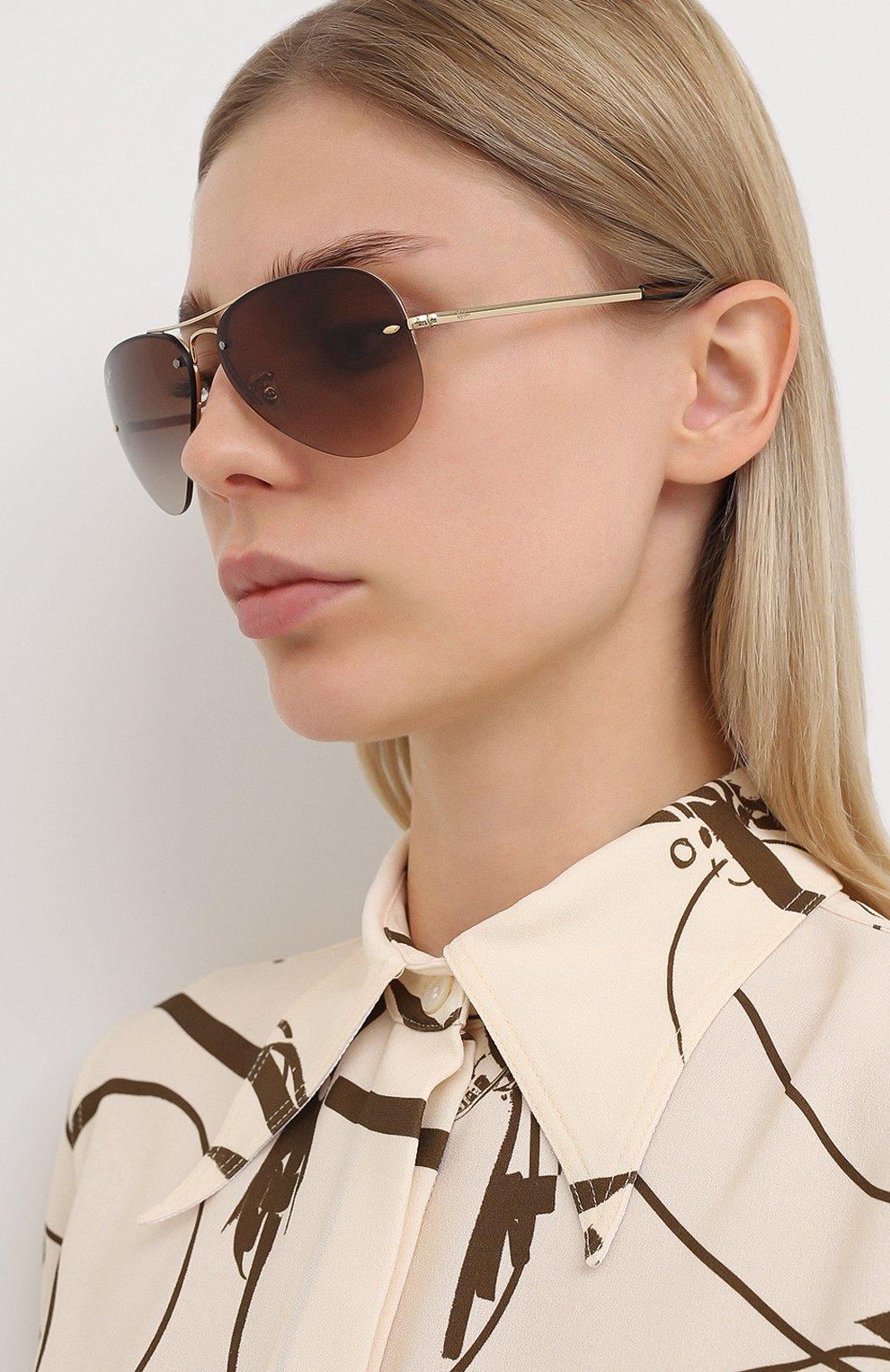 Женские солнцезащитные очки RAY-BAN коричневого цвета, арт. 3449-001/13 | Фото 2