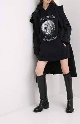 Женский хлопковое худи VETEMENTS черного цвета, арт. UAH21TR613 1605/W | Фото 2