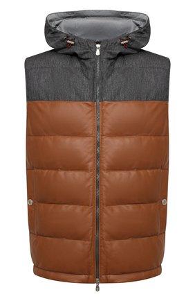 Мужской пуховый жилет BRUNELLO CUCINELLI коричневого цвета, арт. MPTAN1733 | Фото 1