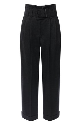 Женские шерстяные брюки BRUNELLO CUCINELLI темно-серого цвета, арт. MP160P7382   Фото 1