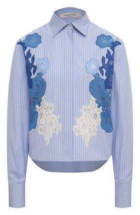 Женская хлопковая рубашка VALENTINO голубого цвета, арт. UB3AB1D75K5   Фото 1