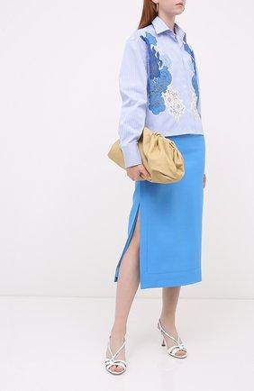 Женская хлопковая рубашка VALENTINO голубого цвета, арт. UB3AB1D75K5   Фото 2