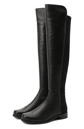 Женские комбинированные ботфорты STUART WEITZMAN черного цвета, арт. S3999 | Фото 1