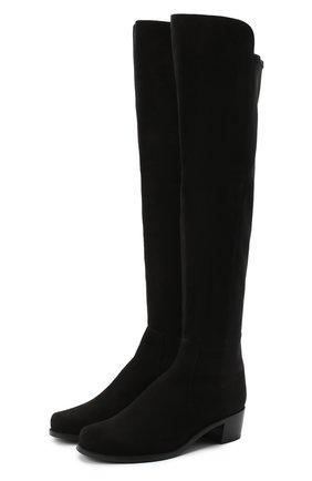 Женские замшевые ботфорты STUART WEITZMAN черного цвета, арт. S4464 | Фото 1