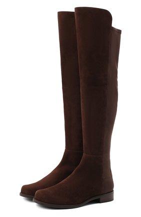 Женские замшевые ботфорты STUART WEITZMAN темно-коричневого цвета, арт. S4465 | Фото 1