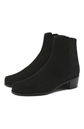 Женские замшевые ботинки STUART WEITZMAN черного цвета, арт. S4468 | Фото 1