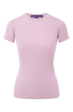 Женская шелковая футболка RALPH LAUREN светло-розового цвета, арт. 290710199 | Фото 1