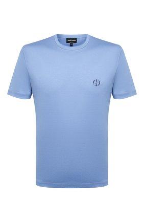 Мужская хлопковая футболка GIORGIO ARMANI голубого цвета, арт. 3HSM72/SJTKZ | Фото 1