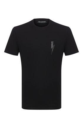 Мужская хлопковая футболка NEIL BARRETT черного цвета, арт. PBJT825E/P504C | Фото 1