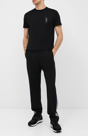 Мужская хлопковая футболка NEIL BARRETT черного цвета, арт. PBJT825E/P504C | Фото 2