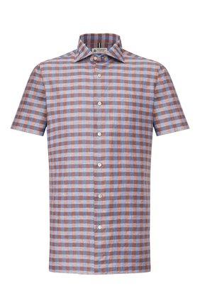 Мужская рубашка изо льна и хлопка LUIGI BORRELLI коричневого цвета, арт. EV08/NAND0 SS/TS9191   Фото 1