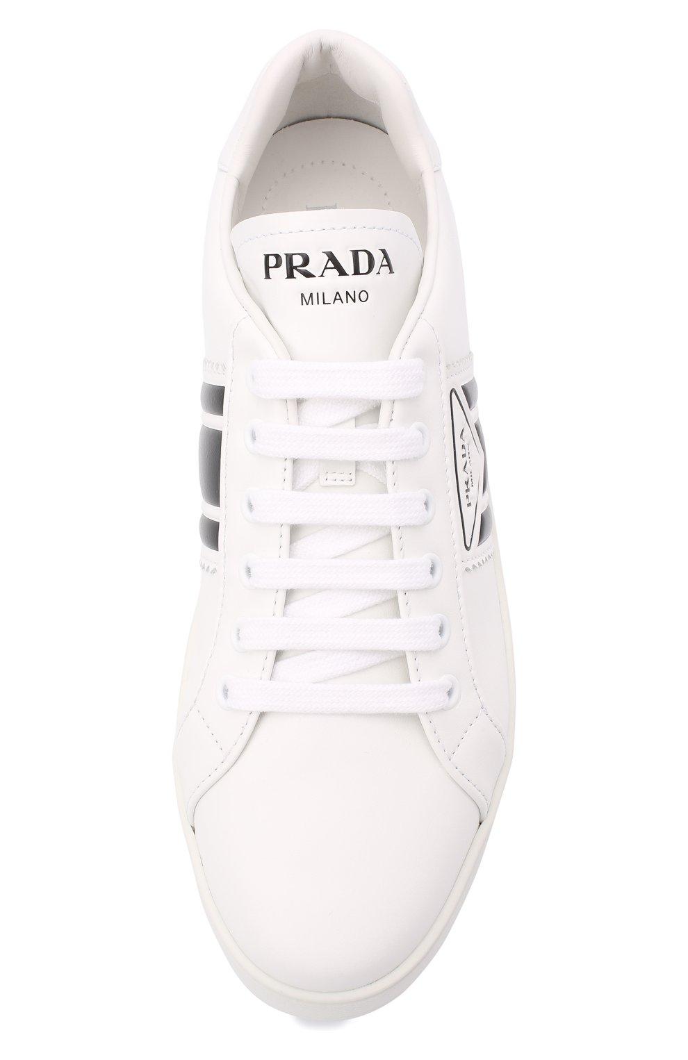 Женские кожаные кеды PRADA белого цвета, арт. 1E125M-3L8U-F0964-5 | Фото 4