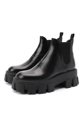 Женские кожаные челси PRADA черного цвета, арт. 1T725L-B4L-F0002-55   Фото 1