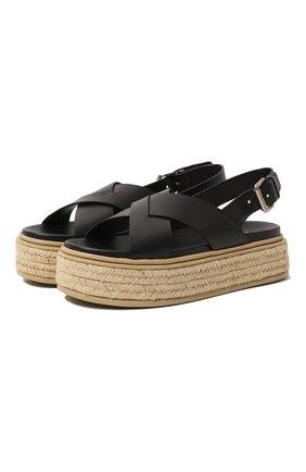 Женские кожаные сандалии PRADA черного цвета, арт. 1XZ728-3L80-F0002-D045   Фото 1