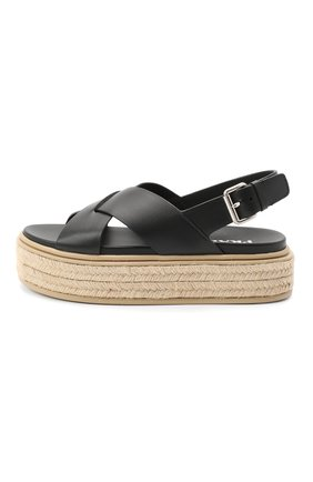 Женские кожаные сандалии PRADA черного цвета, арт. 1XZ728-3L80-F0002-D045   Фото 2