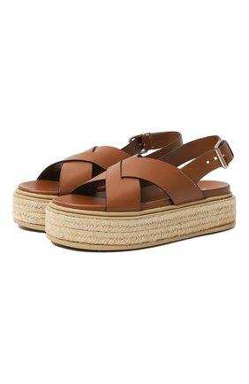 Женские кожаные сандалии PRADA коричневого цвета, арт. 1XZ728-3L80-F0046-D045   Фото 1