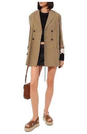 Женские кожаные сандалии PRADA коричневого цвета, арт. 1XZ728-3L80-F0046-D045   Фото 2