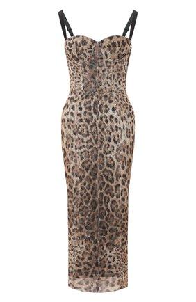 Женское хлопковое платье DOLCE & GABBANA леопардового цвета, арт. F6G6TT/FSEGZ | Фото 1
