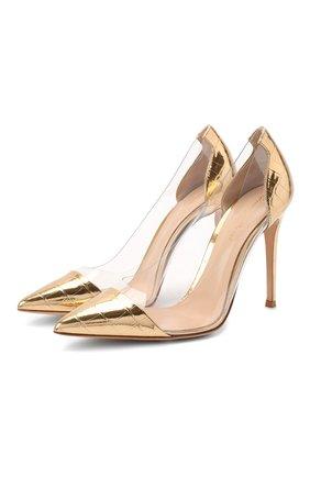 Женская туфли plexy pump GIANVITO ROSSI золотого цвета, арт. G20140.15RIC.M0PMETR | Фото 1