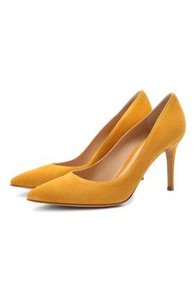 Женская замшевые туфли gianvito 85 GIANVITO ROSSI желтого цвета, арт. G24580.85RIC.CAMGING | Фото 1