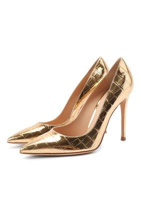 Женская кожаные туфли gianvito 105 GIANVITO ROSSI золотого цвета, арт. G28470.15RIC.MCRMEK0 | Фото 1