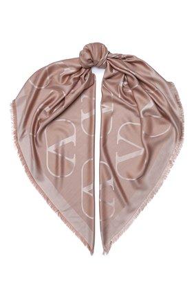 Женская шаль из шелка и шерсти valentino garavani VALENTINO бежевого цвета, арт. UW2EB104/AJB | Фото 1