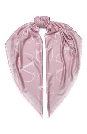 Женская шаль из шелка и шерсти valentino garavani VALENTINO розового цвета, арт. UW2EB104/AJB | Фото 1