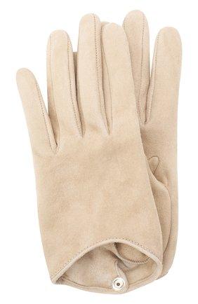 Женские кожаные перчатки GIORGIO ARMANI бежевого цвета, арт. 794217/0A221 | Фото 1