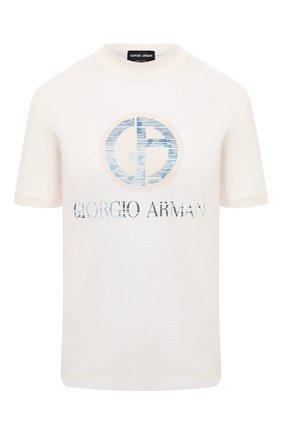 Женская хлопковая футболка GIORGIO ARMANI бежевого цвета, арт. 6HAM85/AJWCZ   Фото 1