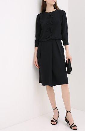 Женское шелковое платье GIORGIO ARMANI черного цвета, арт. 0WHVA061/T01UW | Фото 2