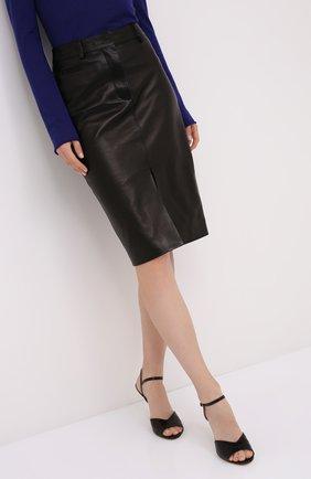 Женская кожаная юбка TOM FORD черного цвета, арт. GCL804-LEX228 | Фото 3