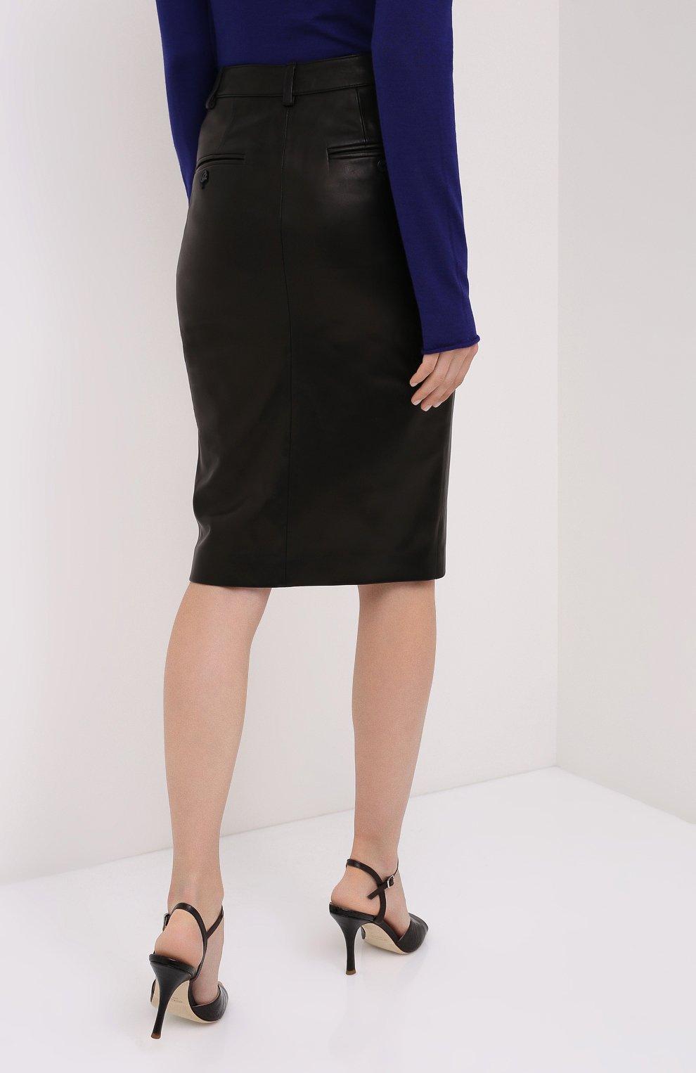 Женская кожаная юбка TOM FORD черного цвета, арт. GCL804-LEX228 | Фото 4