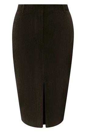 Женская замшевая юбка TOM FORD хаки цвета, арт. GCL804-LEX226 | Фото 1 (Материал подклада: Шелк; Длина Ж (юбки, платья, шорты): До колена; Материал внешний: Замша)
