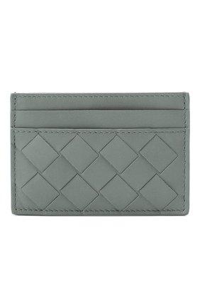 Женский кожаный футляр для кредитных карт BOTTEGA VENETA голубого цвета, арт. 635064/VCPQ3 | Фото 1