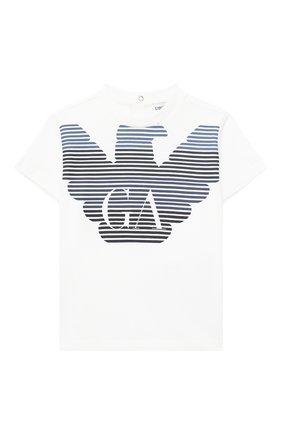Детский хлопковая футболка EMPORIO ARMANI белого цвета, арт. 6HHTQ7/1J00Z | Фото 1