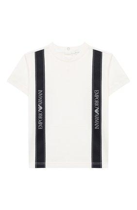 Детский хлопковая футболка EMPORIO ARMANI белого цвета, арт. 6HHTG4/1JTUZ | Фото 1